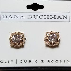 NWT Dana Buchman Gold/Crystal Clip Earrings